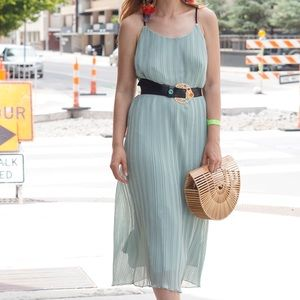 Dresses & Skirts - Mint Green Accordion Pleated Midi Dress